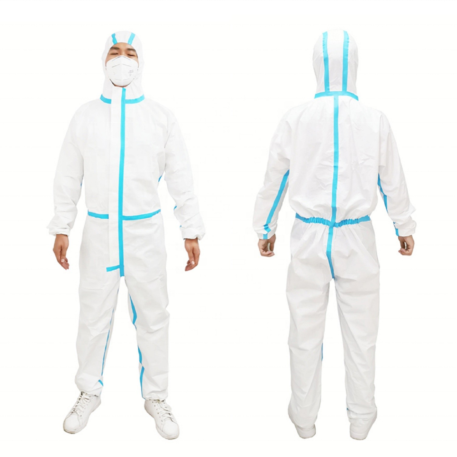 White disposable coveralls clothing  with hood